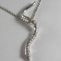 SOLID 18K WHITE GOLD SNAKE PENDANT WITH DIAMONDS CT 0.27 NECKLACE, MADE IN ITALY