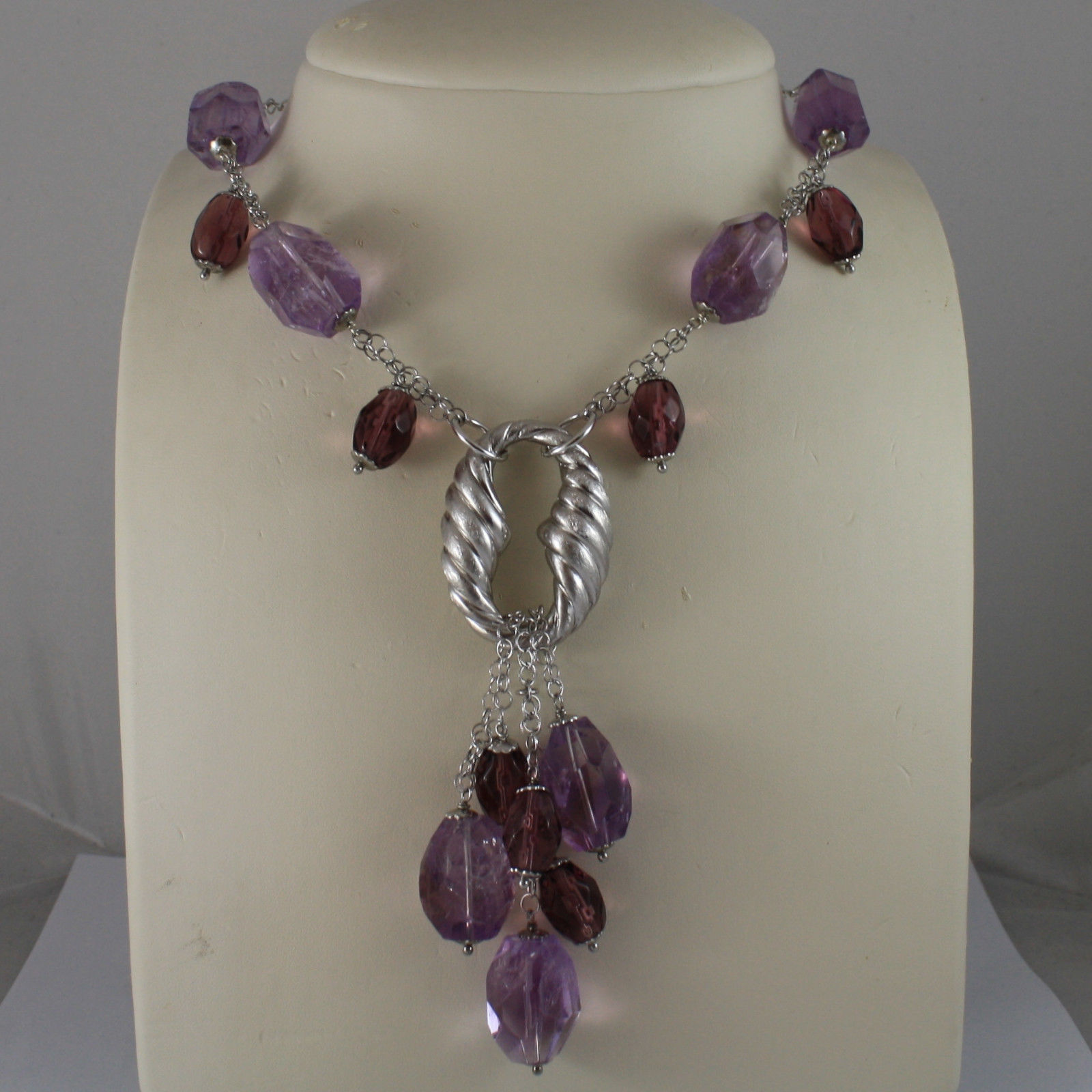 .925 SILVER RHODIUM NECKLACE WITH PURPLE FLUORITE, PURPLE CRYSTALS AND OVAL