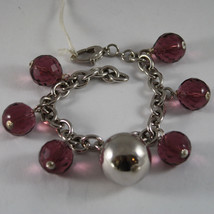 .925 RHODIUM SILVER BRACELET WITH PURPLE CRYSTALS AND BIG SPHERE