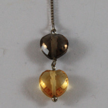 SOLID 18K WHITE GOLD EARRINGS, WITH HEART OF CITRINE AND SMOKY QUARTZ image 3