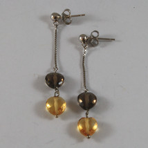 SOLID 18K WHITE GOLD EARRINGS, WITH HEART OF CITRINE AND SMOKY QUARTZ image 2