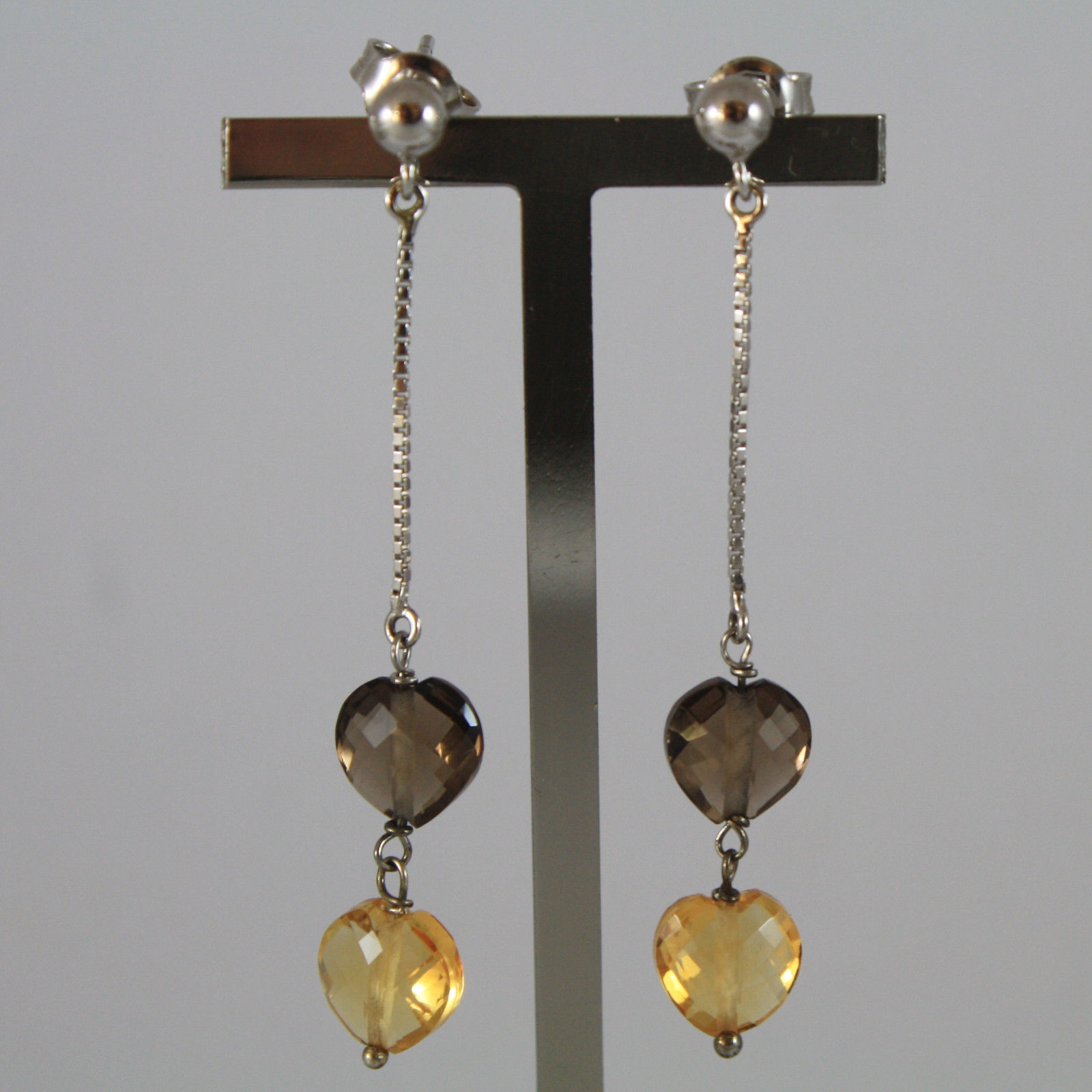 SOLID 18K WHITE GOLD EARRINGS, WITH HEART OF CITRINE AND SMOKY QUARTZ