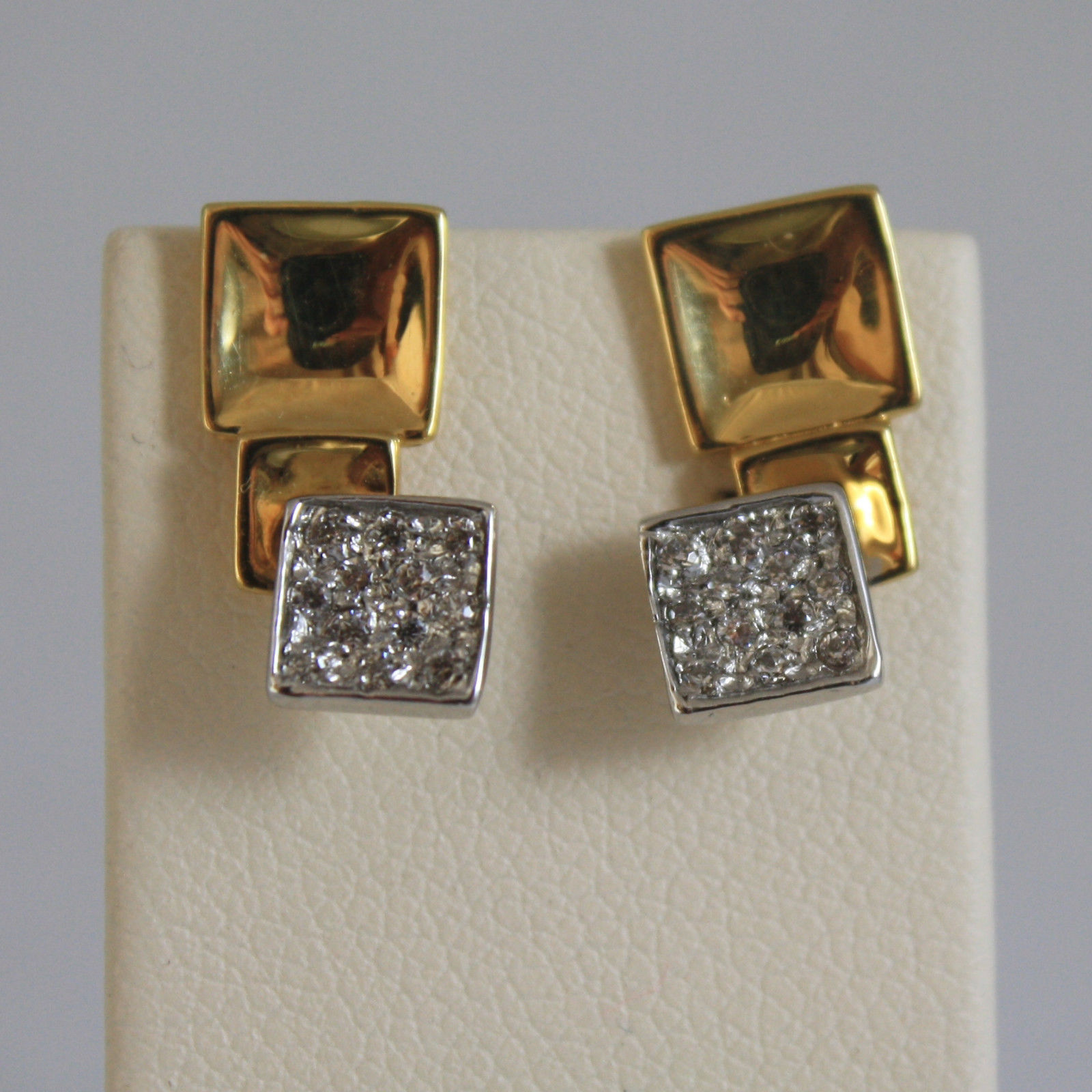 SOLID 18K YELLOW AND WHITE GOLD PENDANT EARRINGS, WITH SQUARE AND ZIRCONIA