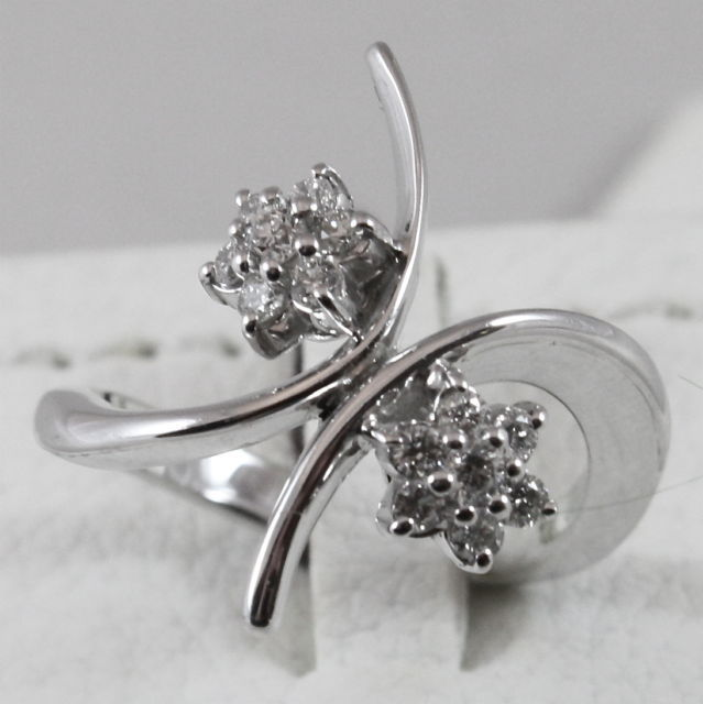 18K 750 WHITE GOLD RING WITH DIAMONDS FLOWERS, MADE IN ITALY