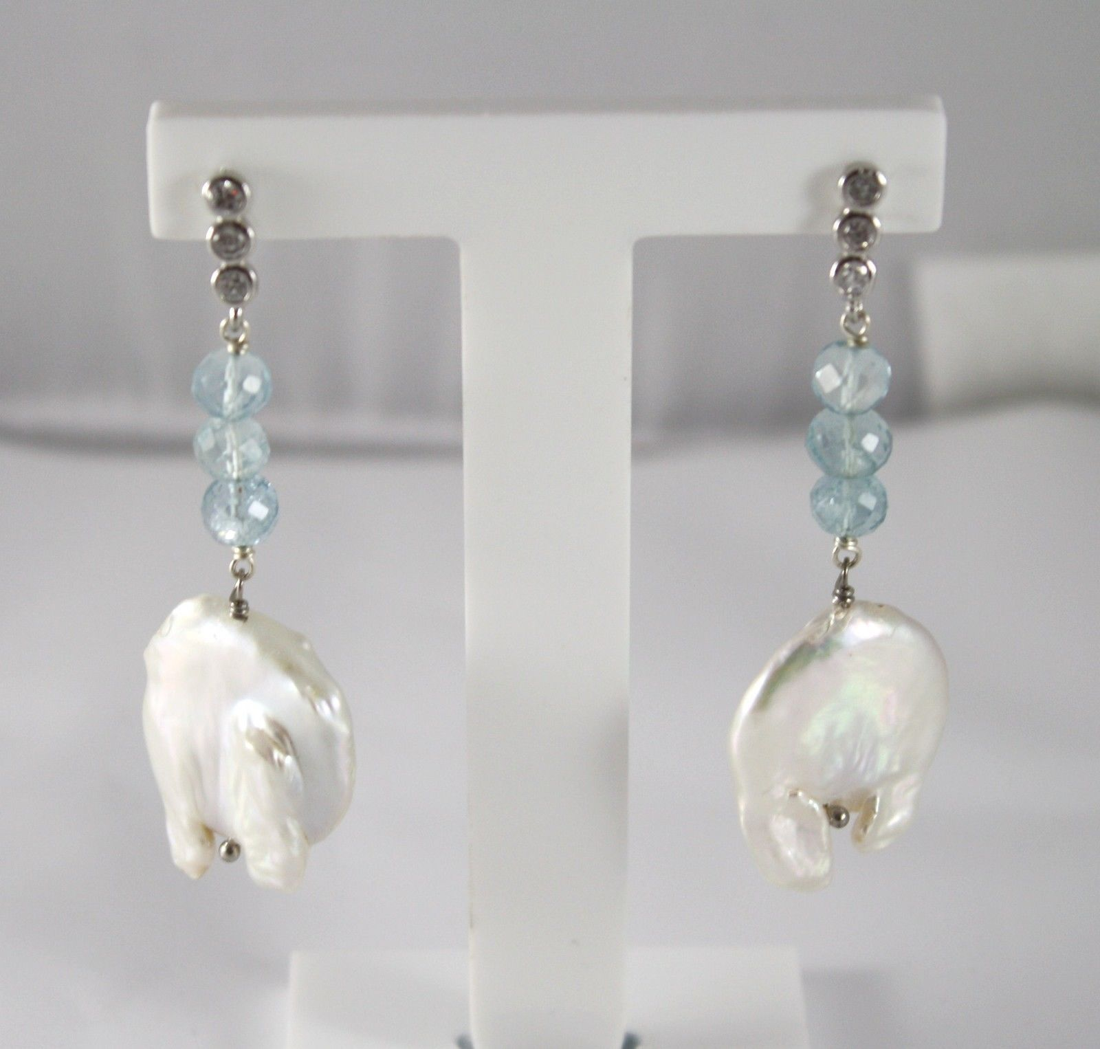 .925 SOLID STERLING SILVER EARRINGS WITH AQUAMARINE AND BAROQUE PEARLS