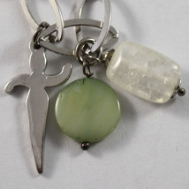 .925 RHODIUM SILVER  BRACELET WITH CRISTAL, GREEN MOTHER OF PEARL AND CHARMS image 2