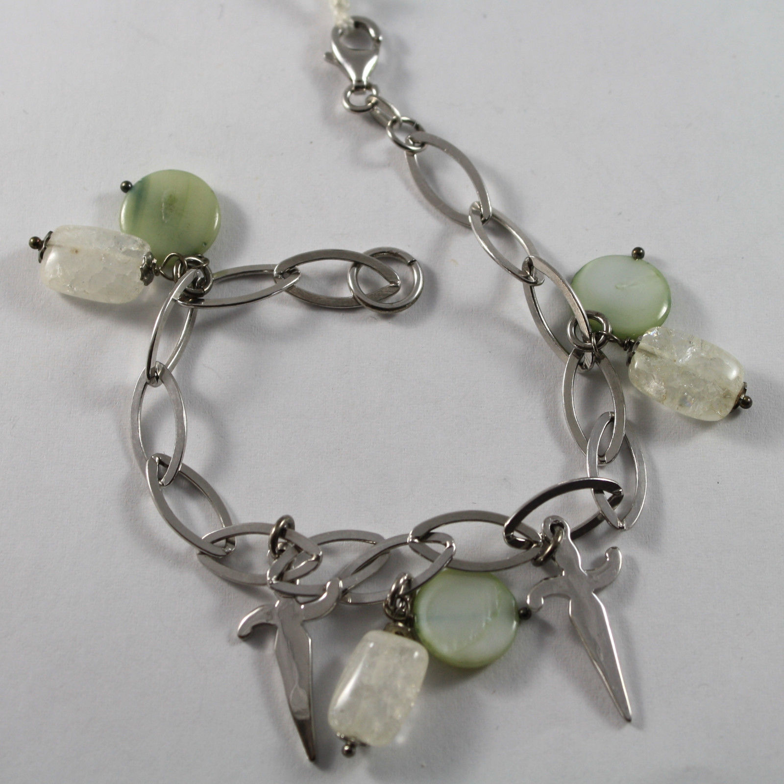 .925 RHODIUM SILVER  BRACELET WITH CRISTAL, GREEN MOTHER OF PEARL AND CHARMS