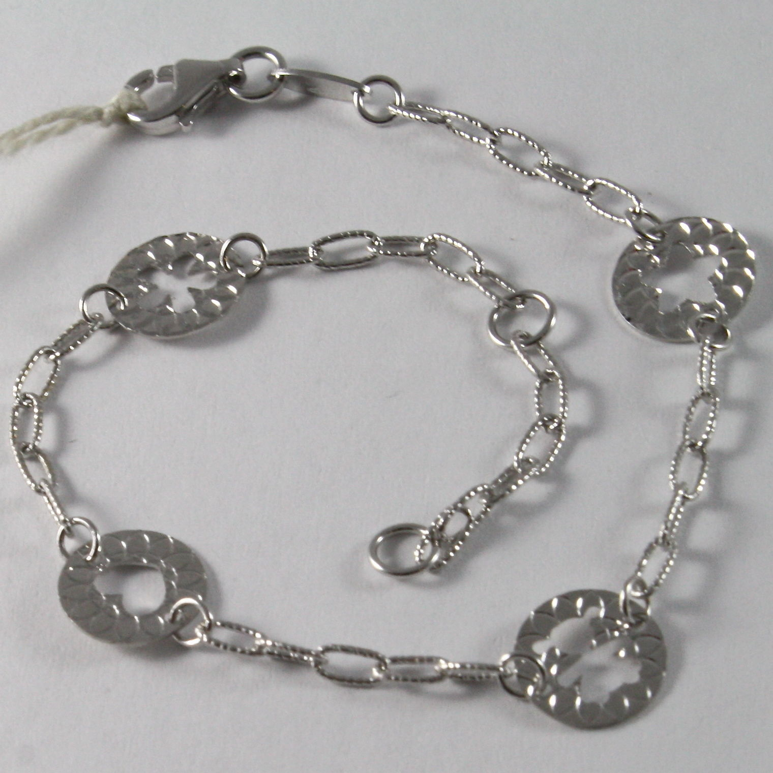 SOLID 18K WHITE GOLD BRACELET WITH STAR, GIRL, FLOWER, HEART, MADE IN ITALY