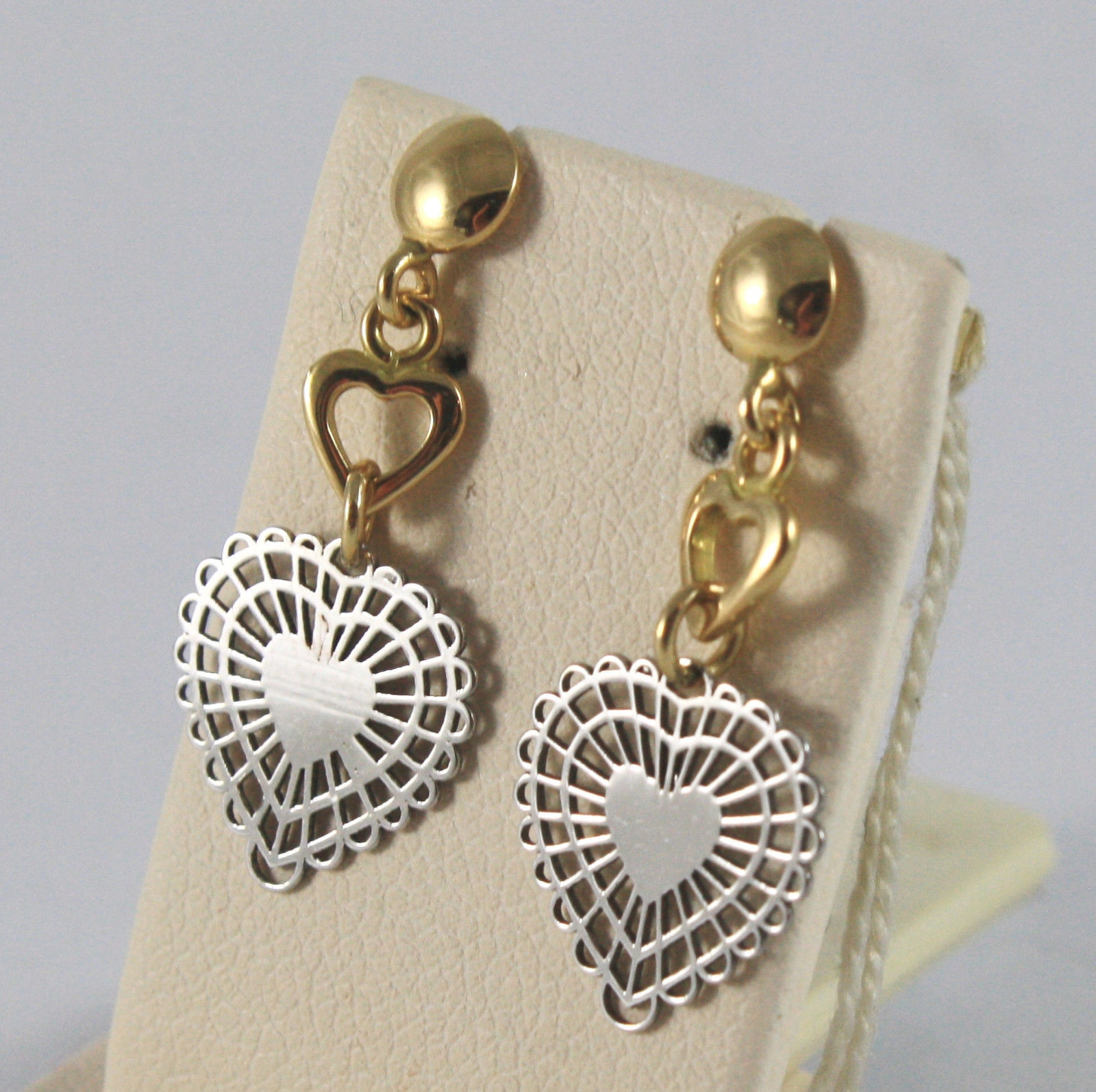 SOLID 18K YELLOW AND WHITE GOLD EARRINGS, WITH HEARTS, LENGTH 1,02 IN.