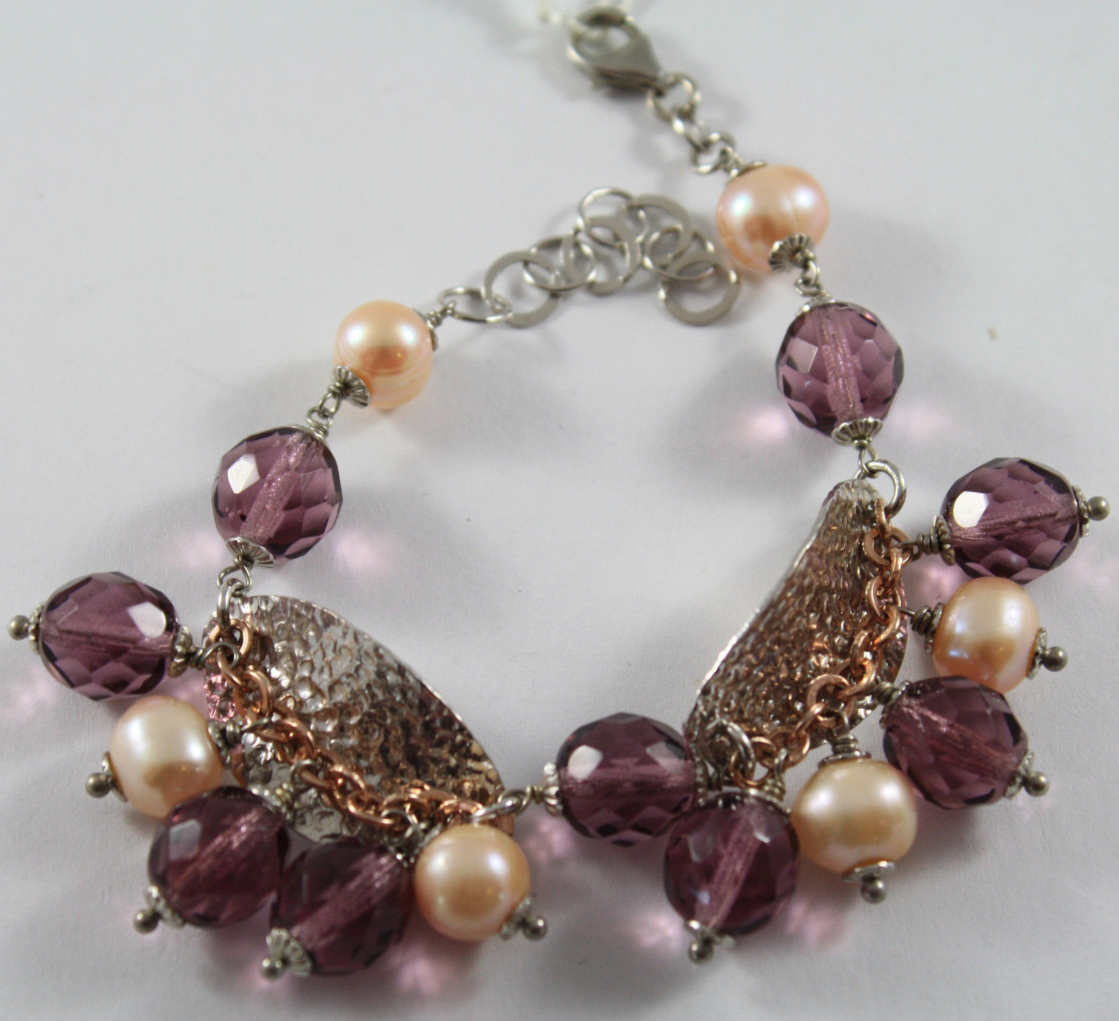 .925 RHODIUM SILVER AND ROSE PLATED BRACELET WITH ROSE PEARLS,AND PURPLE CRISTAL