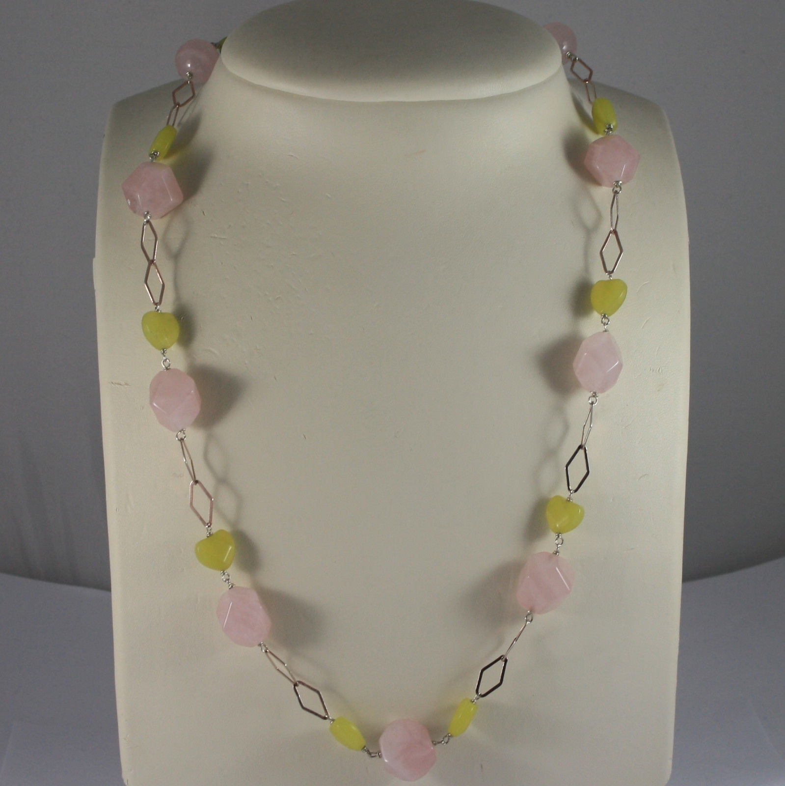 .925 SILVER RHODIUM ROSE GOLD PLATED NECKLACE WITH GREEN JASPER AND PINK QUARTZ