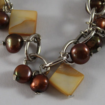 .925 RHODIUM SILVER BRACELET WITH BROWN PEARLS, MOTHER OF PEARL AND HORNS CHARM image 3