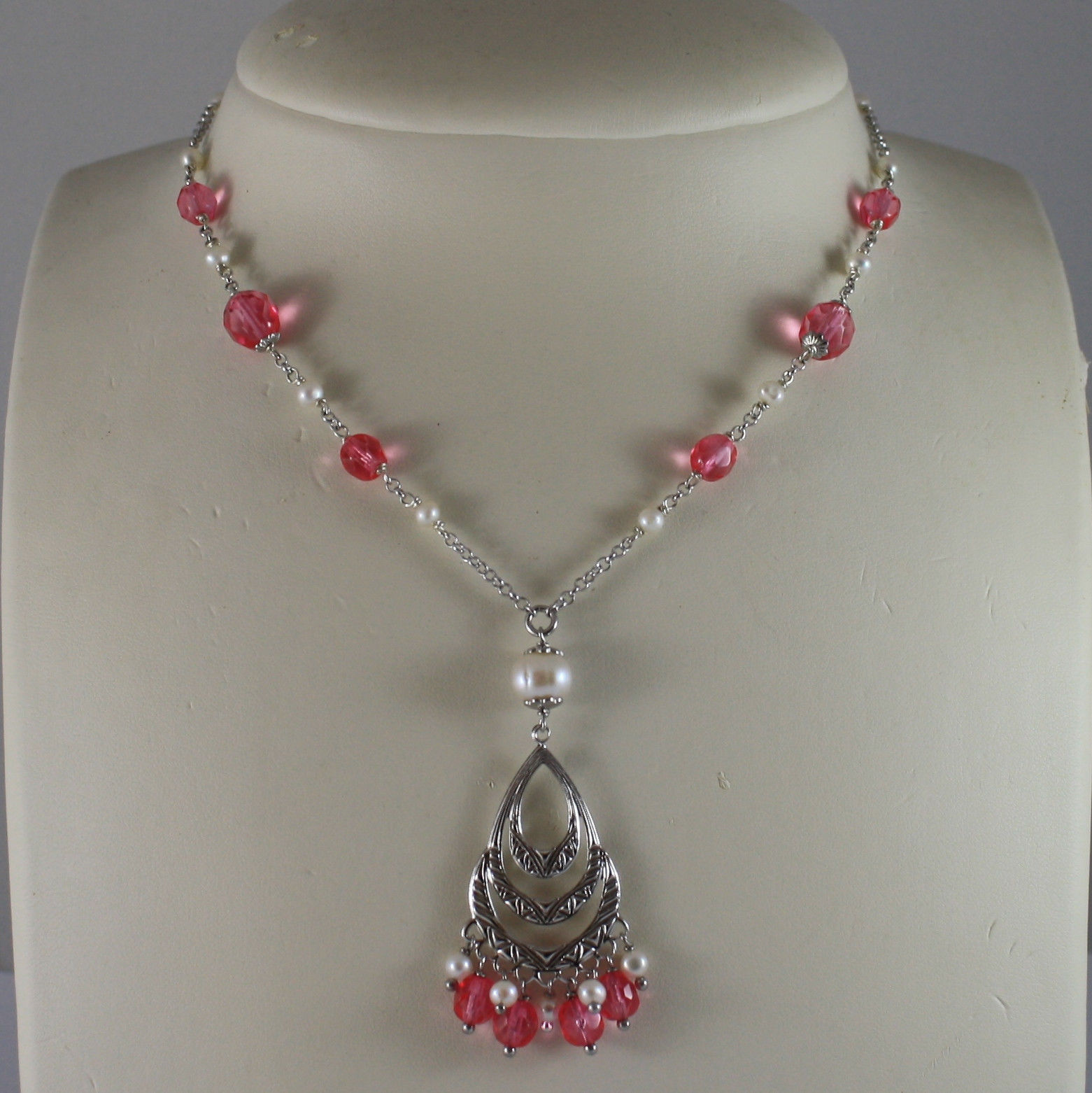 .925 SILVER RHODIUM NECKLACE WITH FUCHSIA CRYSTALS AND SMALL WHITE PEARLS