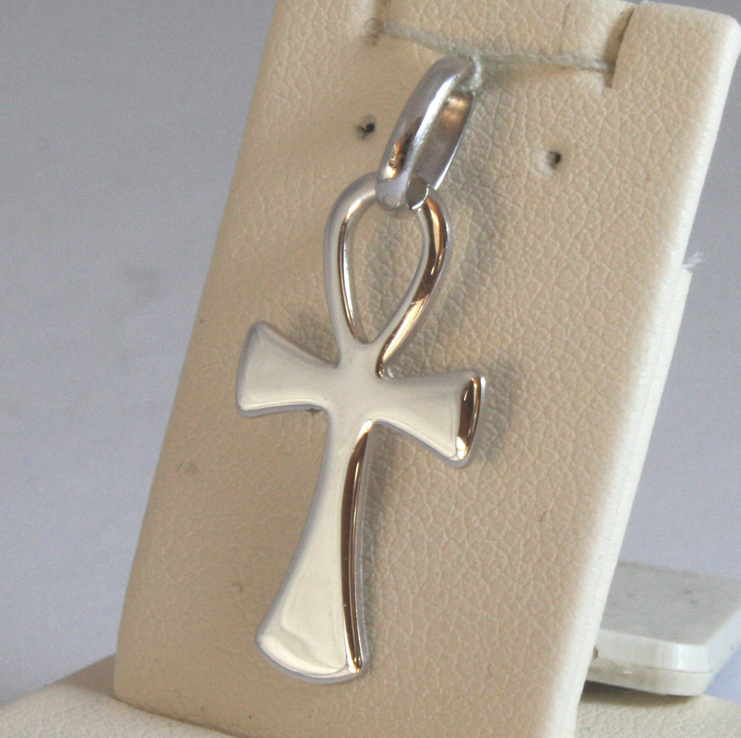 SOLID 18K WHITE GOLD, ANKH CROSS OF LIFE PENDANT, LENGTH 1,1 IN MADE IN ITALY
