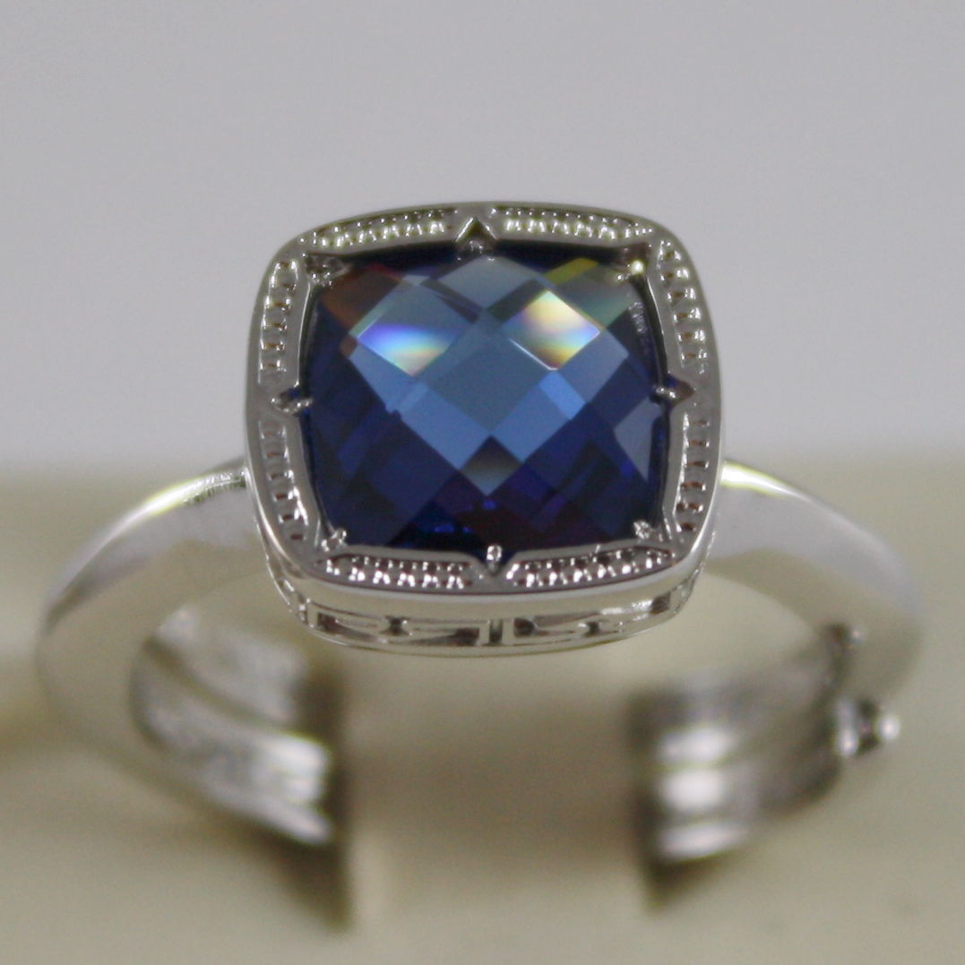 RHODIUM BRONZE RING WITH SQUARE BLUE QUARTZ B14ABI22 BY REBECCA, MADE IN ITALY