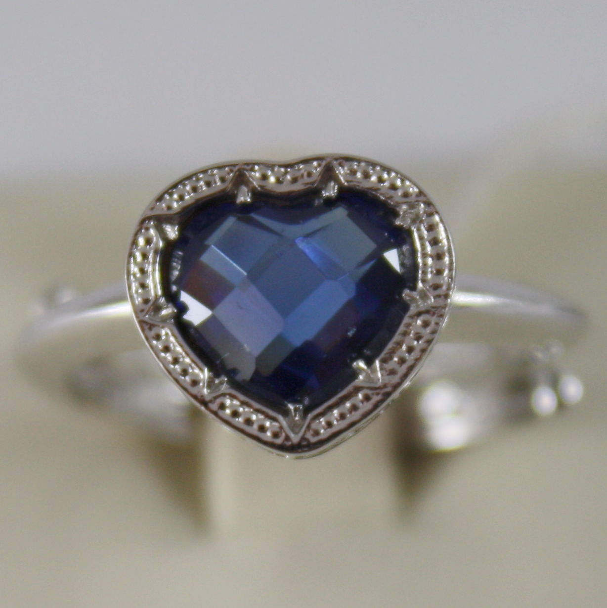RHODIUM BRONZE RING WITH HEART BLUE QUARTZ B14ABI24 BY REBECCA, MADE IN ITALY