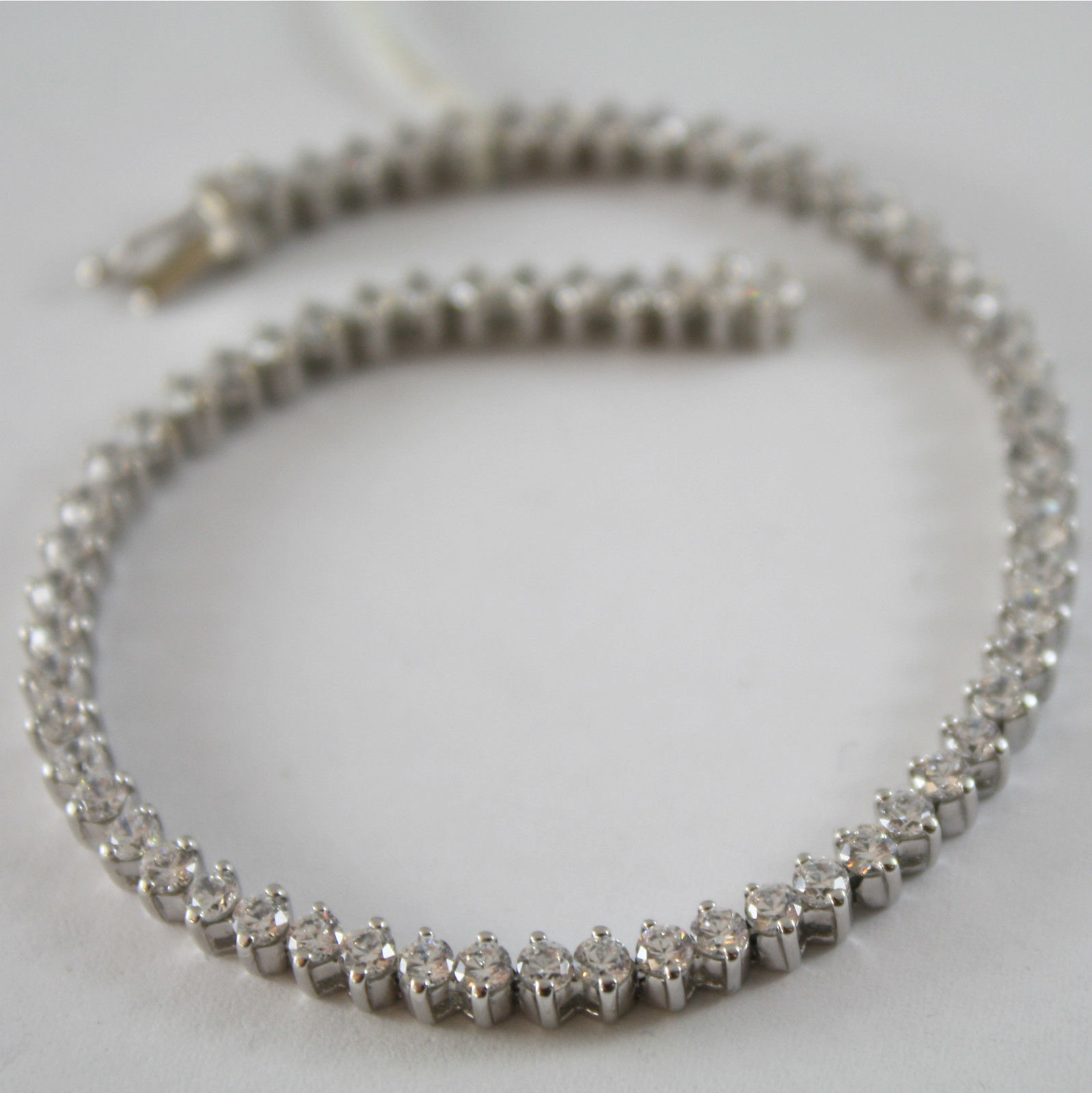 SOLID 18K 750 WHITE GOLD TENNIS BRACELET CUBIC ZIRCONIA CT 3.40, MADE IN ITALY