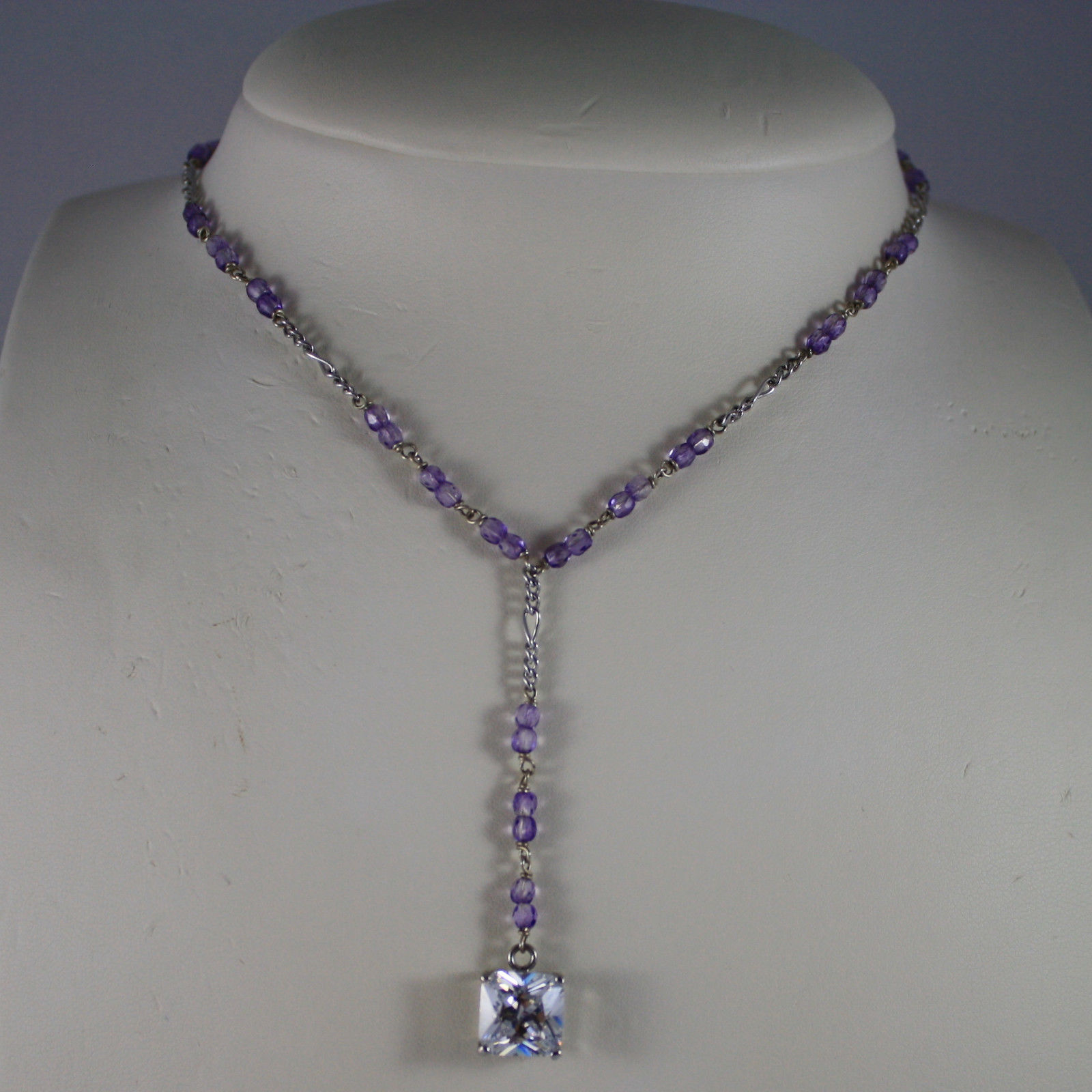 .925 SILVER RHODIUM NECKLACE WITH PURPLE CRYSTALS, TRANSPARENT CRYSTAL PENDANT