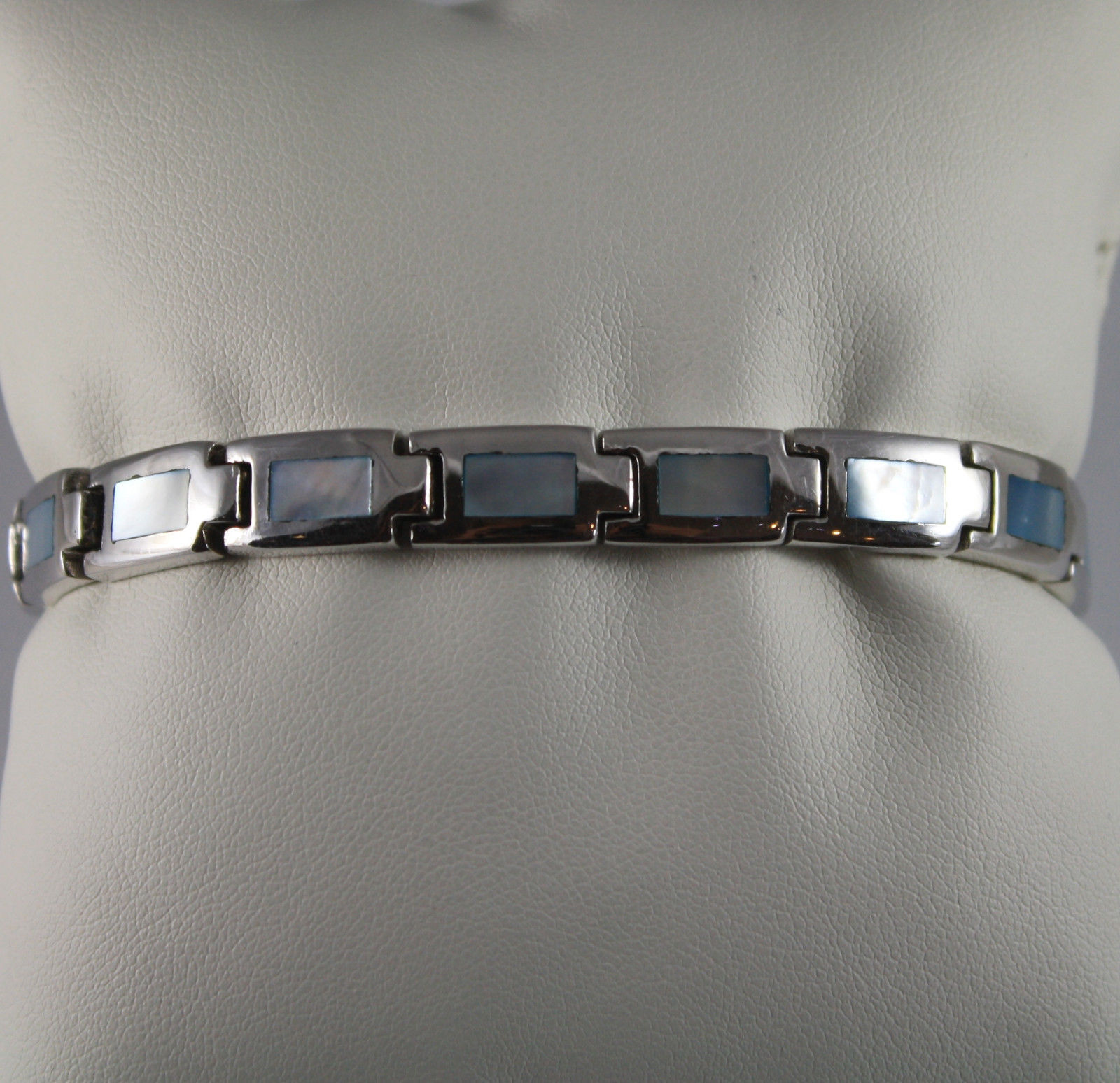 .925 RHODIUM SILVER BRACELET WITH RECTANGLES OF MOTHER OF PEARL BLUE