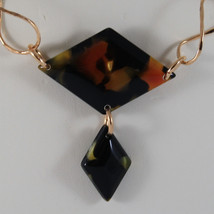 .925 SILVER RHODIUM ROSE GOLD PLATED NECKLACE WITH BLACK PLASTIC RHOMBUS image 3
