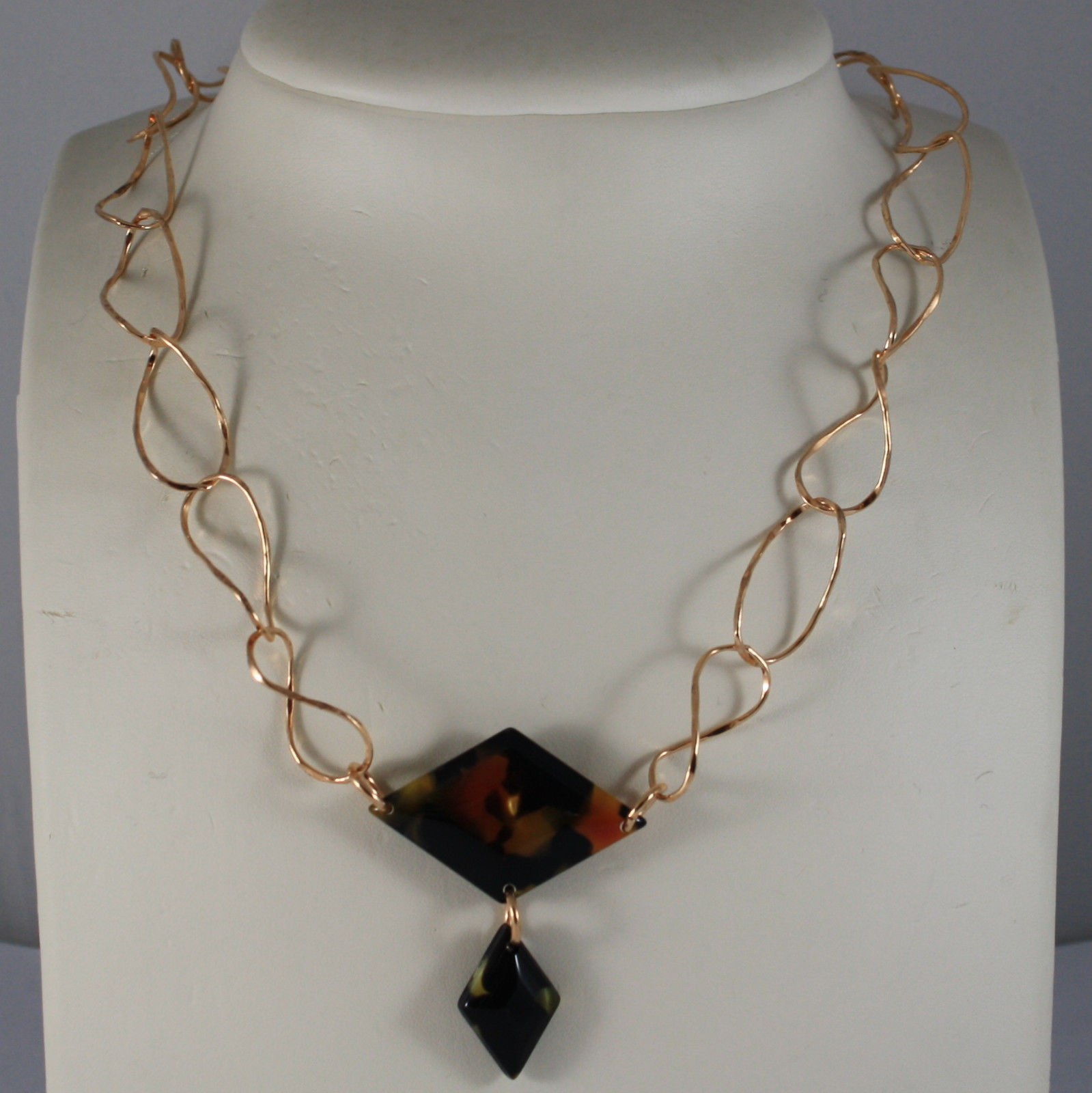 .925 SILVER RHODIUM ROSE GOLD PLATED NECKLACE WITH BLACK PLASTIC RHOMBUS