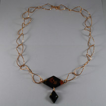 .925 SILVER RHODIUM ROSE GOLD PLATED NECKLACE WITH BLACK PLASTIC RHOMBUS image 2