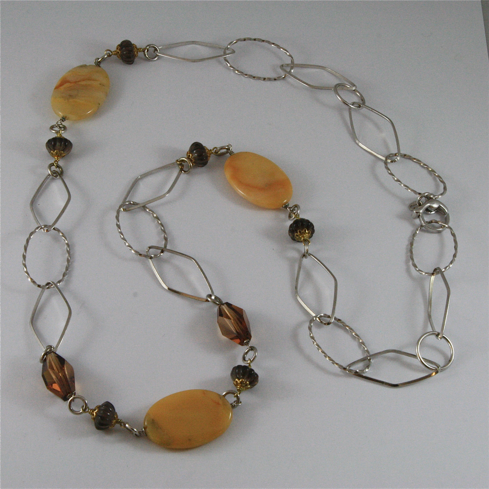 .925 SILVER RHODIUM NECKLACE 31,50 In, YELLOW STRIPED JADE, SMOKEY CRYSTALS.