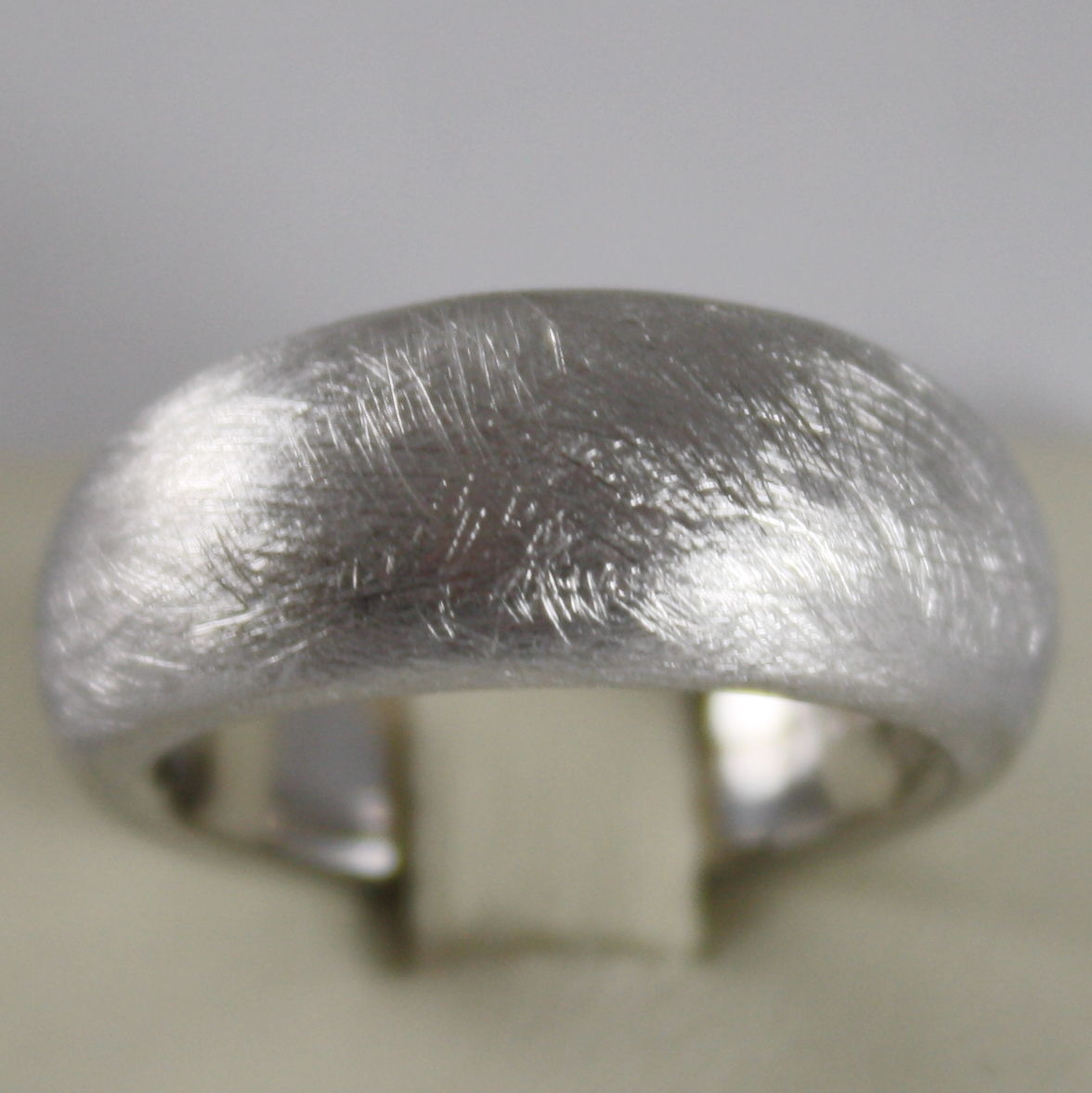 .925 RHODIUM SILVER RING BAND, SATIN AND SCRATCHED BY NANIS MADE IN ITALY