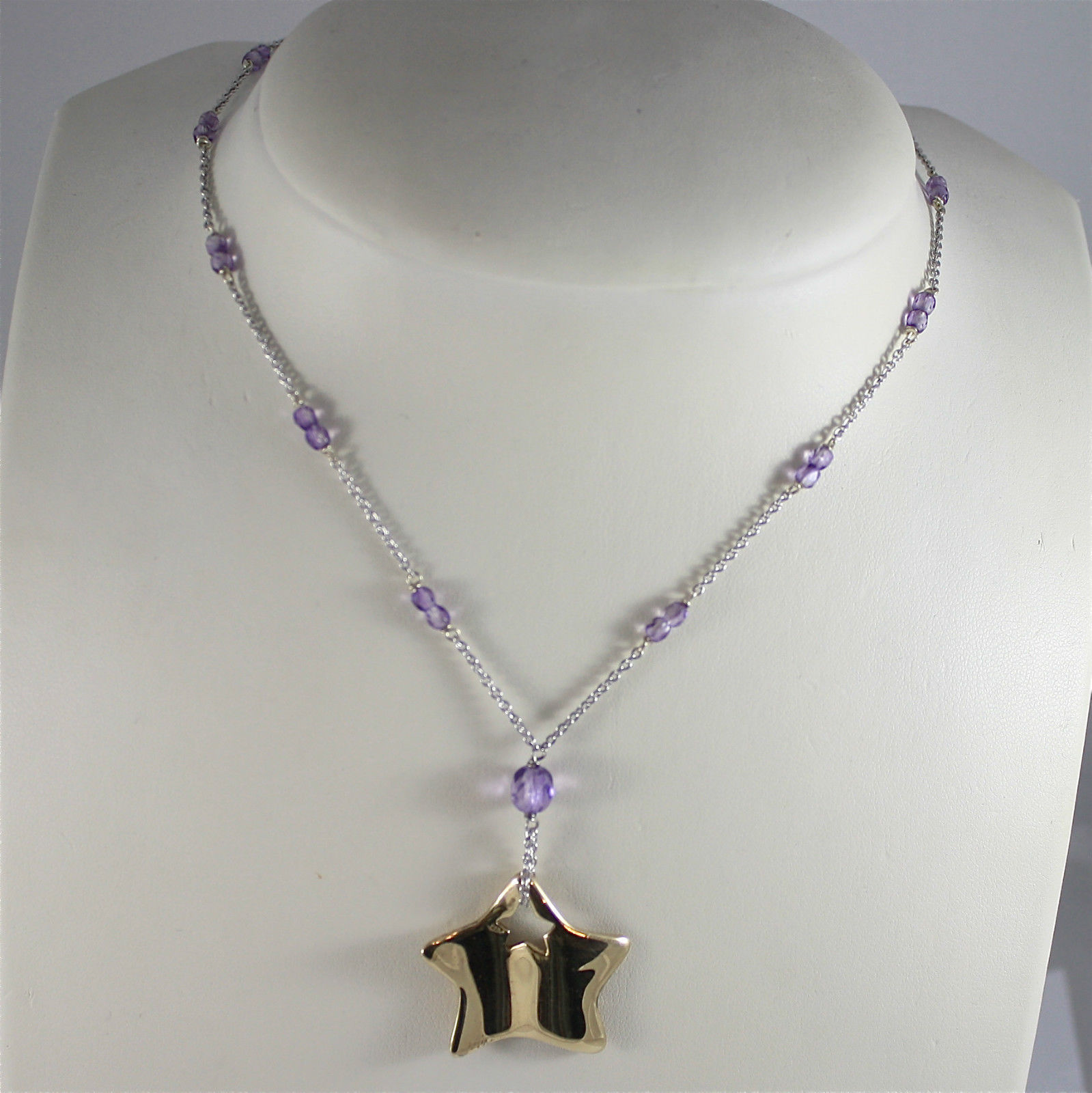 .925 RHODIUM SILVER NECKLACE, PURPLE FACETED CRYSTALS, GOLD PLATED STAR, SATIN.