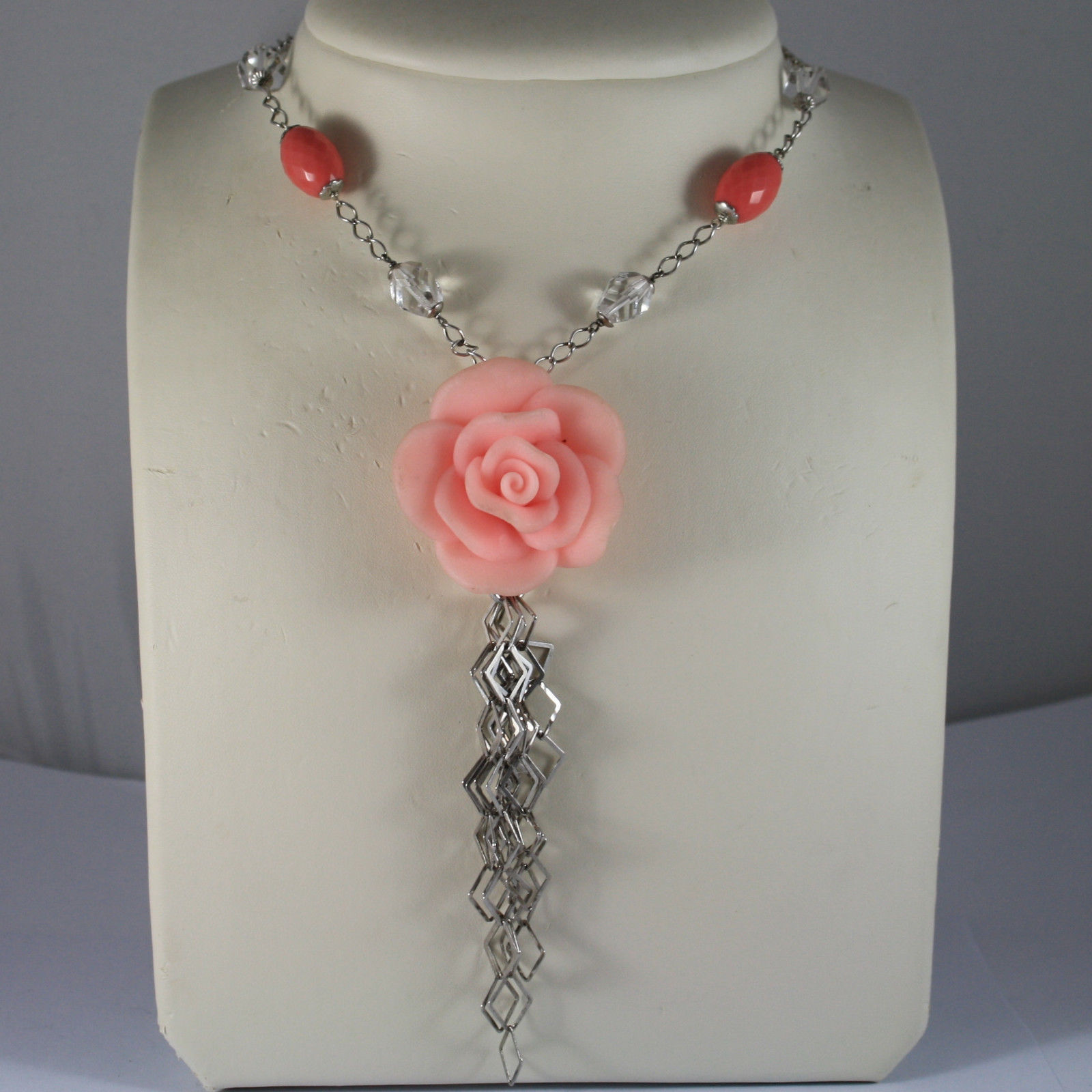 .925 RHODIUM SILVER NECKLACE WITH TRANSPARENT CRYSTALS AND CORAL BAMBOO