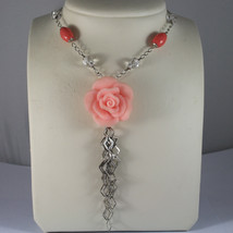 .925 RHODIUM SILVER NECKLACE WITH TRANSPARENT CRYSTALS AND CORAL BAMBOO image 1