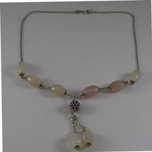 .925 SILVER RHODIUM NECKLACE WITH PINK AGATE AND SPHERE WITH PURPLE CRYSTALS image 2