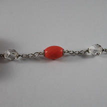 .925 RHODIUM SILVER NECKLACE WITH TRANSPARENT CRYSTALS AND CORAL BAMBOO image 4
