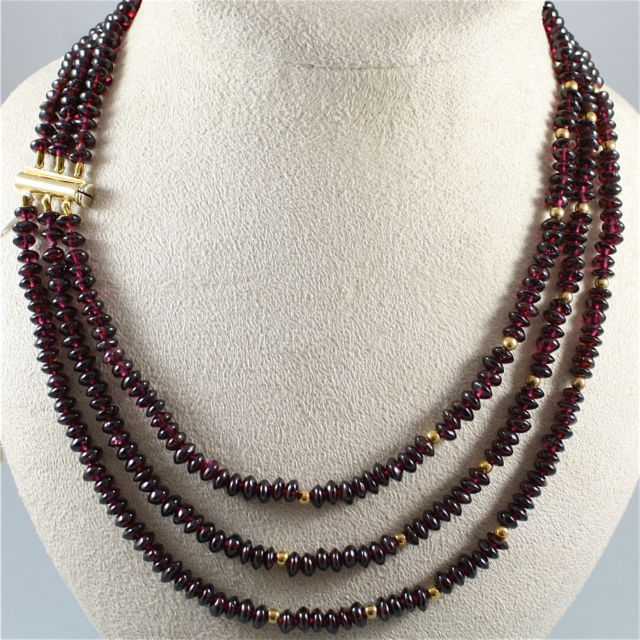 18K 750 YELLOW GOLD THREE WIRE NECKLACE WITH DISC GARNET, MADE IN ITALY