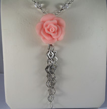 .925 RHODIUM SILVER NECKLACE WITH TRANSPARENT CRYSTALS AND CORAL BAMBOO image 3