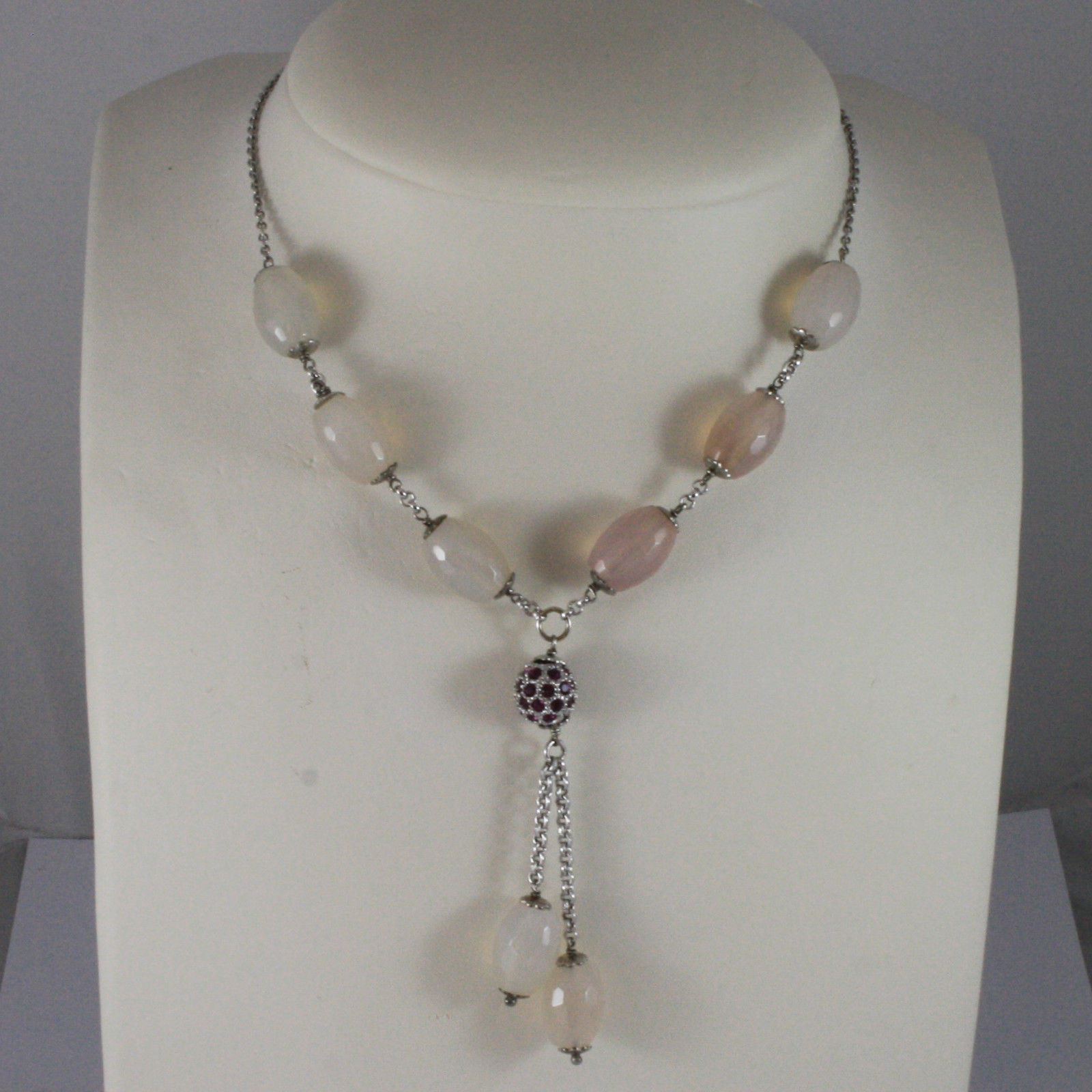 .925 SILVER RHODIUM NECKLACE WITH PINK AGATE AND SPHERE WITH PURPLE CRYSTALS