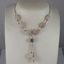 .925 SILVER RHODIUM NECKLACE WITH PINK AGATE AND SPHERE WITH PURPLE CRYSTALS image 1