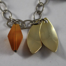 .925 RHODIUM SILVER BRACELET WITH BROWN AGATE AND GOLDEN LEAF image 2