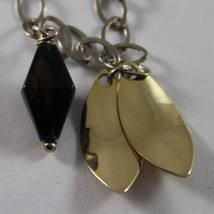 .925 RHODIUM SILVER BRACELET WITH BROWN AGATE AND GOLDEN LEAF image 3