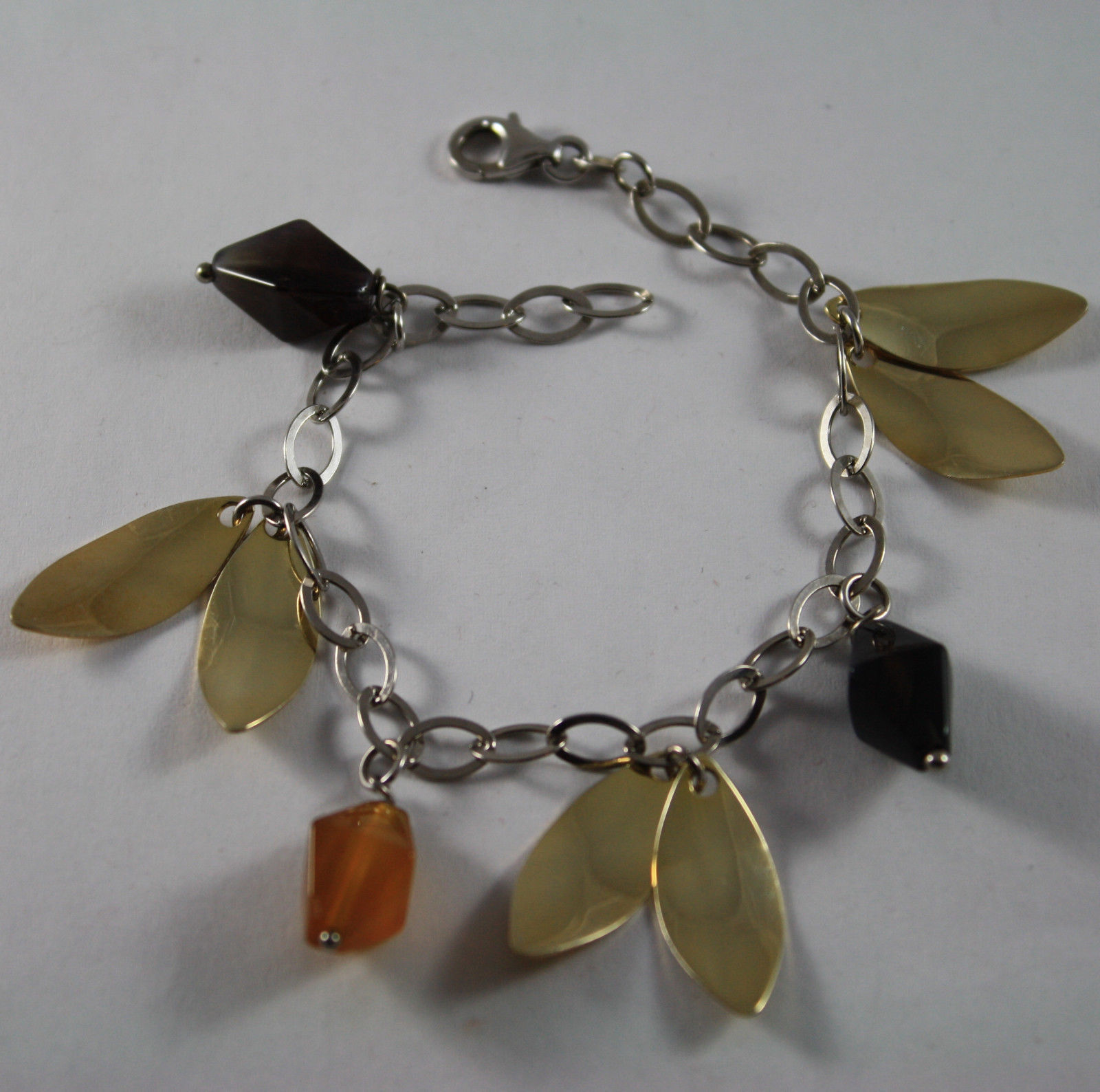 .925 RHODIUM SILVER BRACELET WITH BROWN AGATE AND GOLDEN LEAF