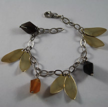 .925 RHODIUM SILVER BRACELET WITH BROWN AGATE AND GOLDEN LEAF image 1