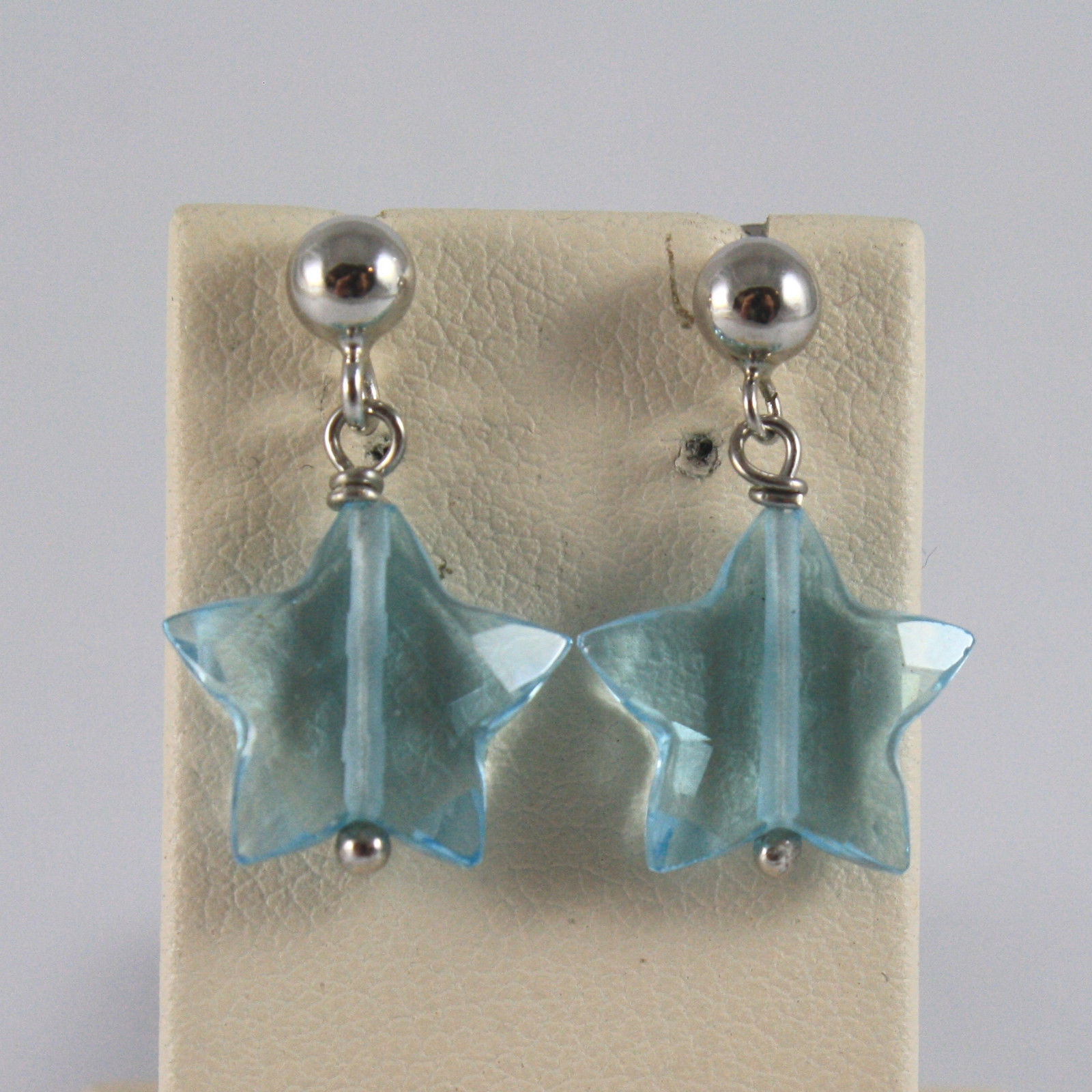 SOLID 18K WHITE GOLD EARRINGS, WITH STARS OF BLUE TOPAZ, MADE IN ITALY