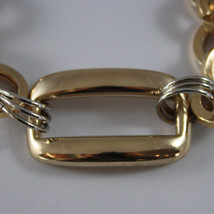 .925 RHODIUM SILVER AND YELLOW GOLD PLATED BRACELET WITH CIRCLES AND RECTANGLE image 2