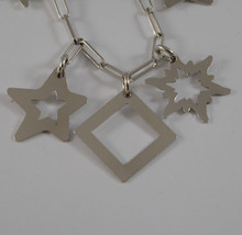 .925 RHODIUM SILVER BRACELET WITH GLOSSY SQUARE AND STARS PENDANT image 2