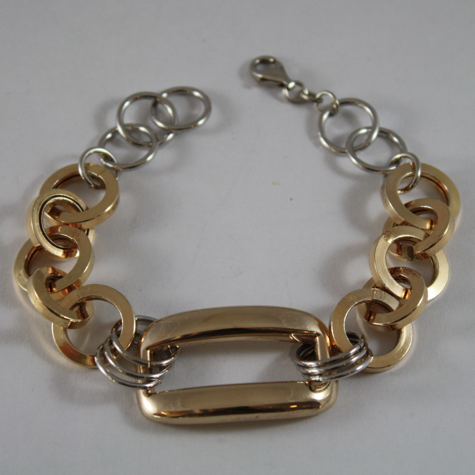 .925 RHODIUM SILVER AND YELLOW GOLD PLATED BRACELET WITH CIRCLES AND RECTANGLE
