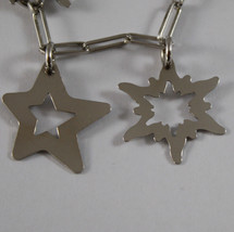 .925 RHODIUM SILVER BRACELET WITH GLOSSY SQUARE AND STARS PENDANT image 3