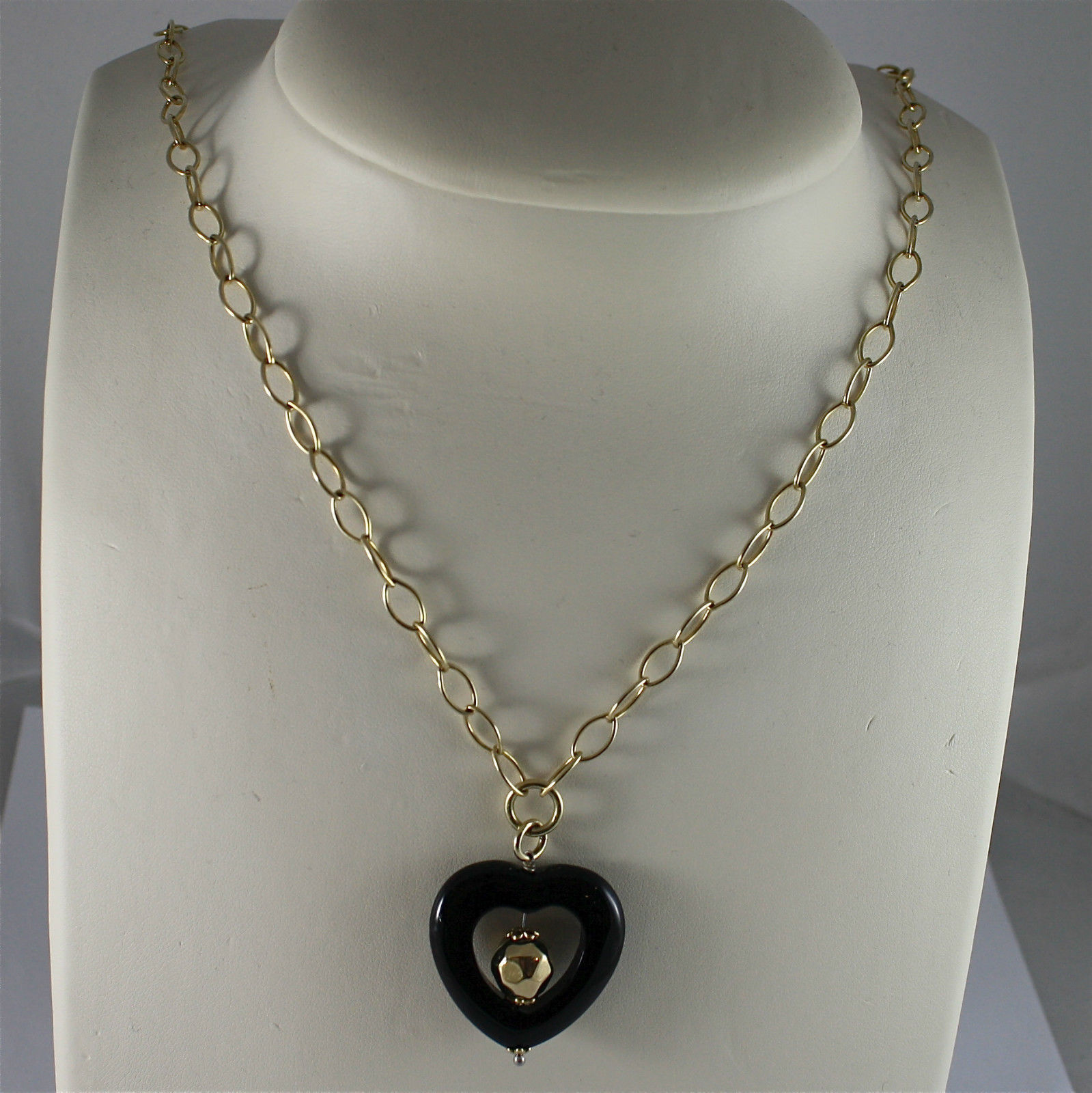 .925 SILVER NECKLACE, GOLD PLATED, CHAIN MESH, ONYX HEART PENDANT, 18,90 INCHES.