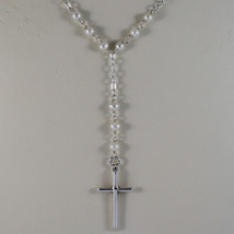 .925 RHODIUM NECKLACE WITH SMALL WHITE PEARLS AND CROSS image 3