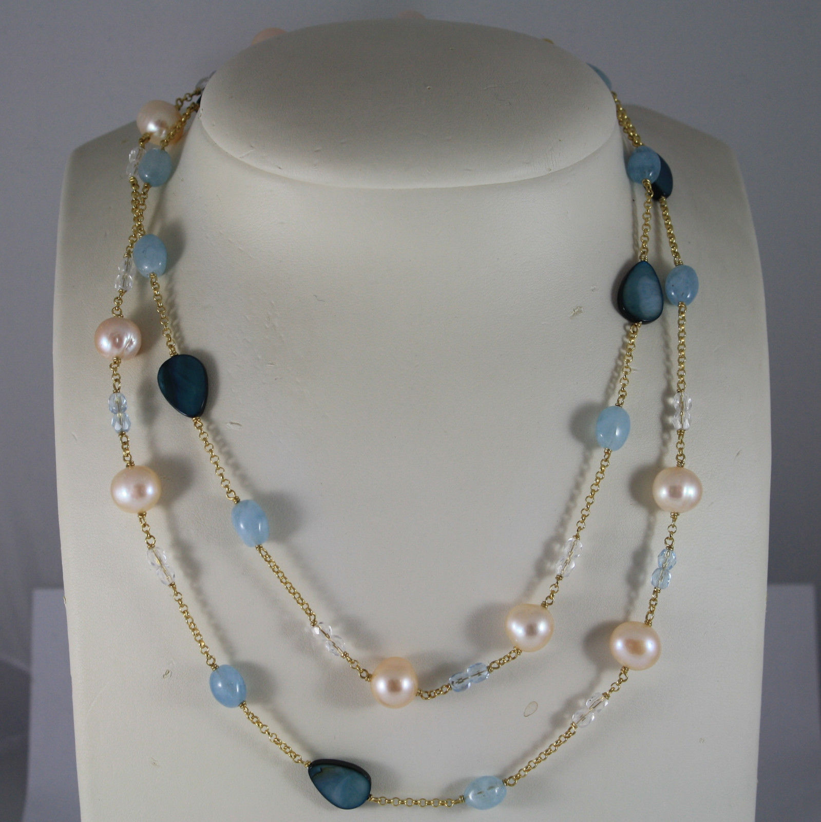 .925 RHODIUM SILVER NECKLACE, ROSE FRESH WATER PEARLS, AQUAMARINE AND CRISTALS