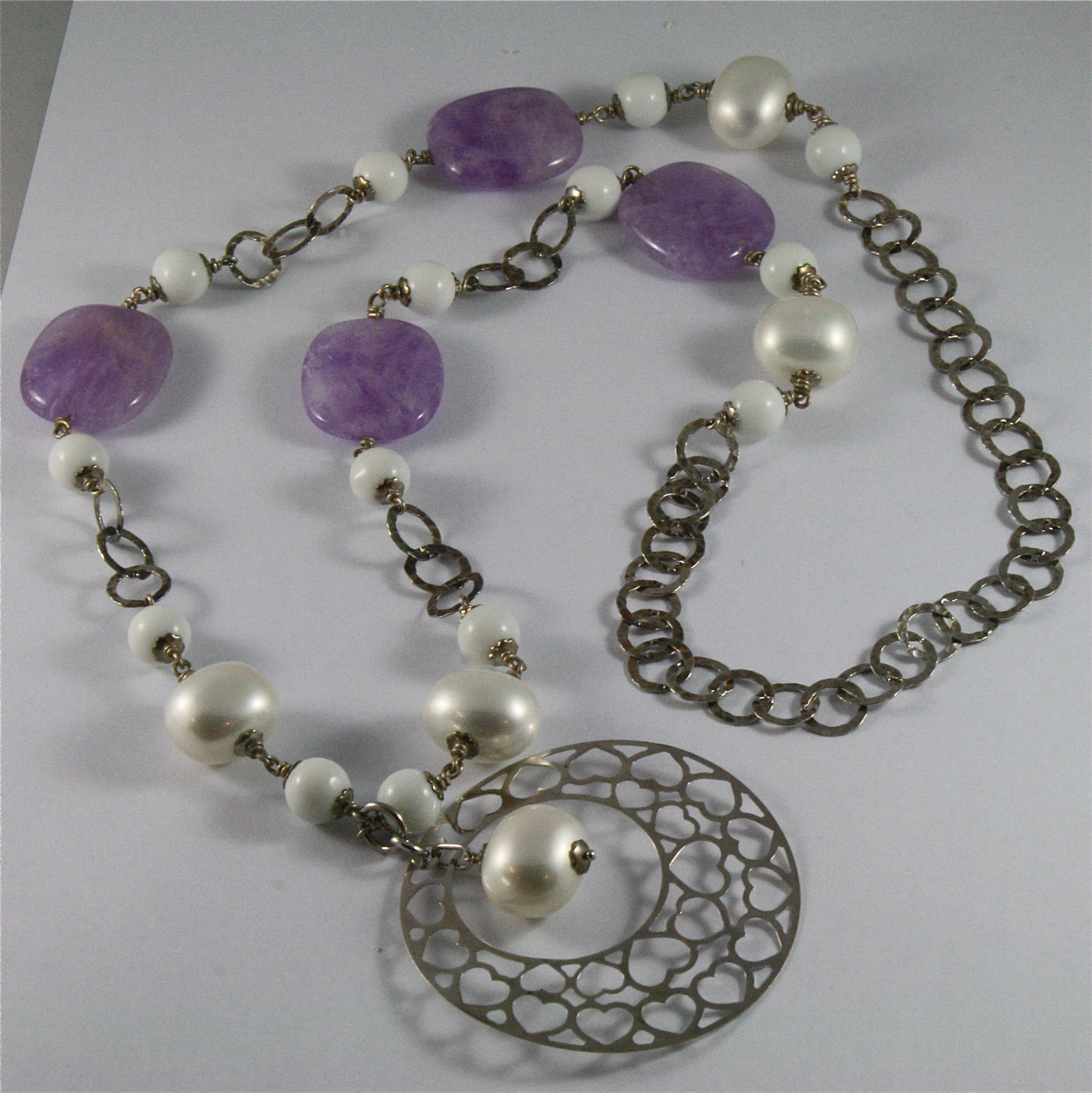 .925 SILVER RHODIUM NECKLACE 33,46 In, AMETHYST, AGATE, REBUILT PEARLS, PENDANT.